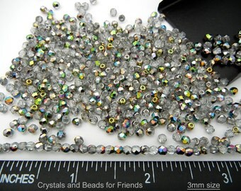 600 Crystal Vitrail coated 3mm, Preciosa Czech Fire Polished Round Faceted Glass Beads, Czech Glass Fire Polish Beads