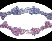 100% Handsewn Bugle Beads Pearl Beading Floral Cording on Sheer Organza Trim Purple Lilac Lavender Lace Trimming Sewing Notions 05436CB
