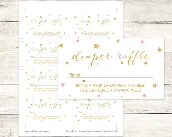pink gold twinkle star diaper raffle tickets printable baby shower DIY ...