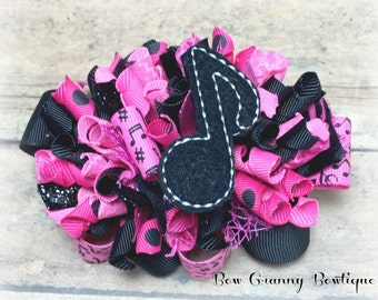 Hot Pink and Black Funky Loop Hair Bow, Music Hair Bow, Music Lovers Bow, Music Note Hairbow, Funky Hair Bow, Over the Top Hair Bow