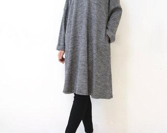 Women's Grey Cotton Long Sleeve Dress Casual Loose dress Fall Dress