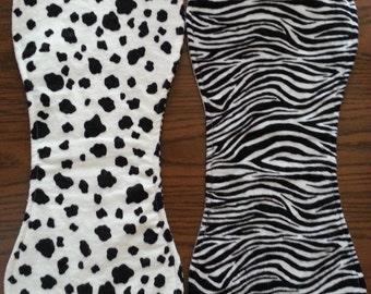 White with Black Spots and Zebra Stripe Padded Burp Cloth