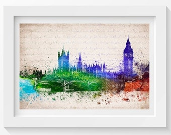 Palace of Westminster In Color Poster, Home Decor, Gift Idea