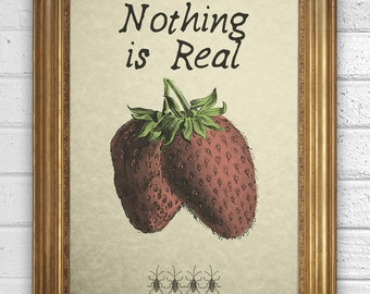 Beatles - Strawberry Fields Forever Quote - Nothing is real -  Art Print on Vintage Book Page