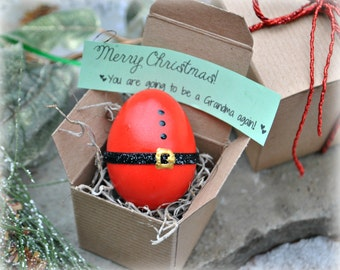 Message in an Egg.  Christmas Pregnancy Announcement. Gender Reveal Egg. Custom Invitations