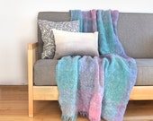 Vintage pastel throw blanket in mint, aqua, purple and pink / Plaid wool and mohair blanket for couch, bed / Retro modern home decor