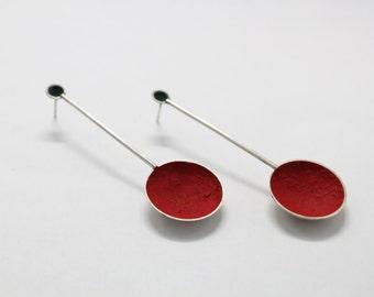 Sterling silver red earrings,dangle earrings, minimal earrings, simple earrings,cup earrings