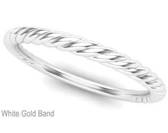 Twisted 18K White Gold Wedding Band