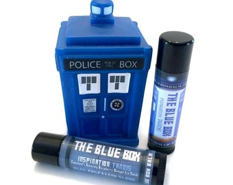 The Blue Box - Doctor Who Inspired Lip Balm - TARDIS - TimeLord's Amazing Raspberry Delight Ice Slush Flavor Geek Stix - Blue Shimmer