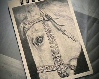 Horse Drawing Notebook, Notepad, Jotter, Pocket Notebook, great Horse Gift, features Horse Print, Horse Picture, Horse Art