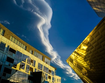 Cloudscape Above the Denver Art Museum: A Photographic Art Print Created by Nature in Denver Colorado