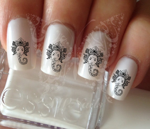 Nail Art Indian Hindu God Ganesha Nail Water Decals Transfers