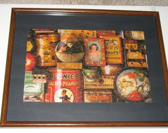 Vintage Framed Jigsaw Puzzle - General Store Tin Cans Sweet Memories