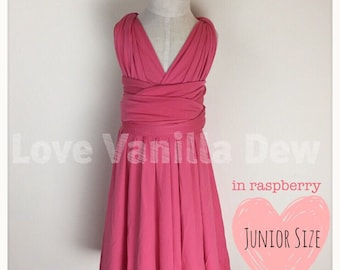 Junior Bridesmaid Dress Infinity Dress  Raspberry Convertible Dress Multiway Wrap Dress