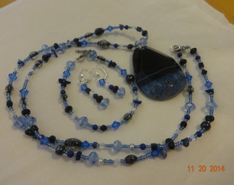 OOAK Handmade necklace bracelet earrings set multi black and blue crystal beads featuring statement making agate onyx black and blue pendent