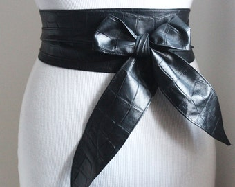 Black Obi Belt Croc effect Tulip Tie | Black Leather Obi Belt | Waist/hip wrap Belt | leather sash belt