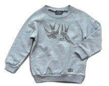 Sweat-shirt, heather grey, kids, Love's wing print, UNDER MY SKIN, hand-printed, limited edition