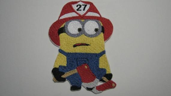 Despicable me minion pompier pompier avec axes brod patch - Minion pompier ...