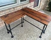 """Reclaimed Wood Desk L Table - Solid Oak W/ 28"""" Black Iron Pipe legs."""