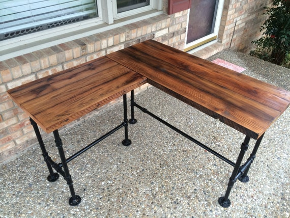 "Reclaimed Wood Desk L Table - Solid Oak W/ 28"" Black Iron Pipe legs."