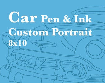 Custom Pen & Ink Car Portrait