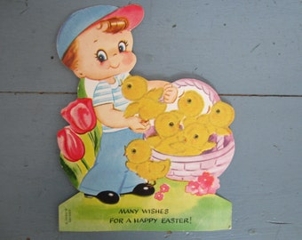 Vintage Easter Card 1950s, Ameri Card, Easter Greeting, little boy Easter card, Fuzzy Chick Easter Card, Cute Easter Card, Happy Easter card