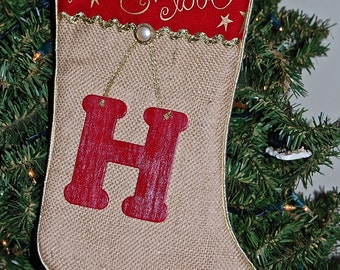 Stocking made from Burlap with Initial