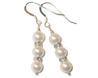 WHITE Pearl Earrings Bridal Swarovski Crystal Elements Sterling Silver Dangle
