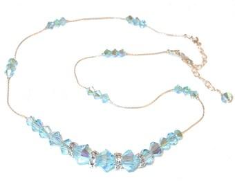 AQUAMARINE Blue Crystal Necklace Sterling Silver Floating Swarovski Elements