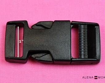 """10-100 pcs 1"""" Black Plastic Side Release Buckle Slider Adjuster"""