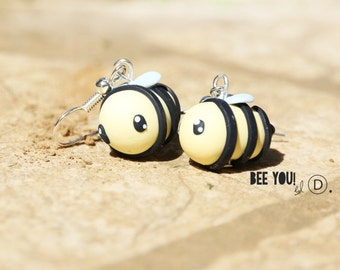 Earrings Bee Fimo / Polymer clay - Handmade / Clay earrings / Dangle earrings