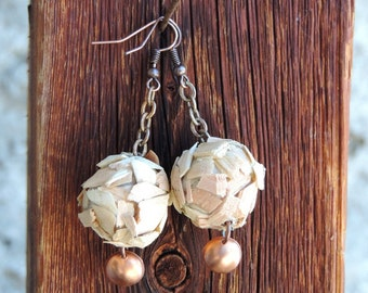 Wooden balls earrings made of wood shavings and copper