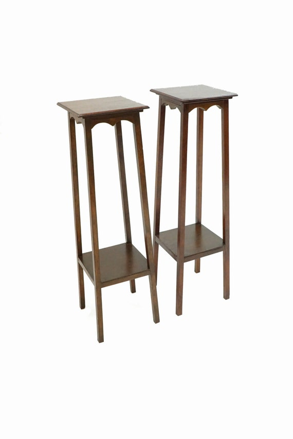 Pair Of Tall Wood Brown Side End Lamp Table 2 By