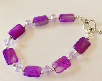 Purple Agate Bracelet Gemstone Bracelet Lavender Crystal Bracelet Handmade Jewelry Purple Jewelry Beaded Stone Bracelet Gift for Her