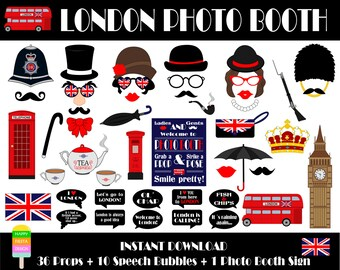 London Photo Booth Props-47 Pieces (36 props,10 speech bubbles,1 photo booth sign)-England,British,Travel Photo Booth Props-Instant Download