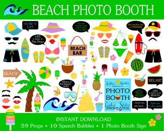 Beach Photo Booth Props–70 Pieces (59 props,10 speech bubbles,1 photo booth sign)-Surfing,Surf,Beach Party,Summer Props-Instant Download