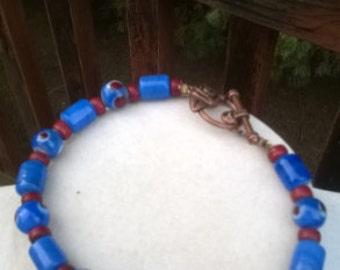 Vintage Blue Ceramic and Brown Dotted Bracelet