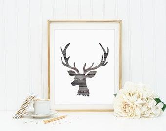 Deer Antler Woodland Wood Wall Decor Art Print Rustic Instant Download Digital File