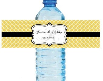 Custard Monogram Water Bottle Labels Great for Engagement Bridal Shower Wedding Anniverary Birthday Party 2 sizes available