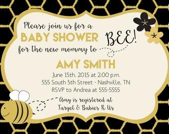 Printable Custom Honey Bee Baby Shower or Birthday Invitation