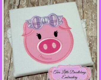 Personalized Piggy Shirt-Birthday Shirt-Farm Shirt-Pink Pig Shirt-Girls Shirt-Piggy with Bow-Birthday Piggy Shirt-Oink-Pink Pig Shirt