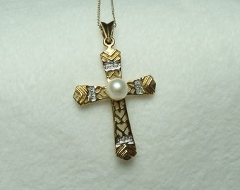 14 KT Two-tone Cross Pendant with Pearl made of 14KT. Gold Precious hangs from 17 inch chain.  GP 244