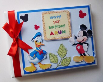 Mickey Birthday Guest Book Personalised Memory Book '1st Birthday' - any design