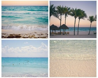 Beach Photo Set, Ocean Print Set, Aqua Coastal Decor, Blue Coastal Decor, Ocean Prints, Ocean Photography, Beach Art, Waves Photo Set