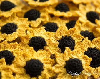 Mini Crochet Sunflowers  - 10 Small Crochet Flower Appliques - Scrapbooking Flowers - Card Applique - 10PCS - Pico Series