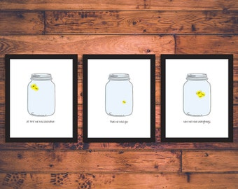 "Mason Jar Firefly Nursery Wall Art - ""At first we had each other. Then we had you. Now we have everything.""  (3) 8 x 10 Prints"