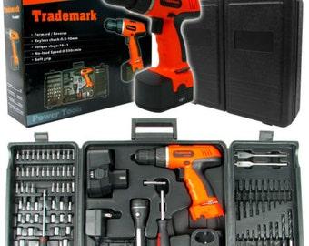Trademark Tools 78 Pc - 18 Volt Cordless Drill Set - Two Drill Speeds