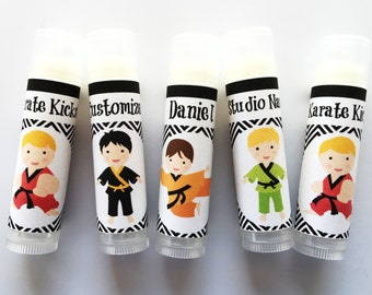 Karate Party Favors Lip Balm - Set of 5 - Boy Karate Party Favors - Party Favors - Boy Birthday - Karate Chapstick Favor - Karate Gift Bags