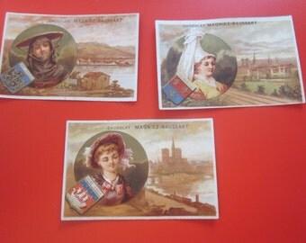 3 antique french chromo 1885 free shipping