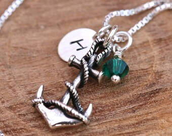 Sterling Silver Personalised Nautical Antiqued 3D Anchor Necklace with Birthstone Swarovski Crystal and Impressed Tag Birthday Gift with Box